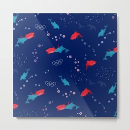 Blue Dolphin and Red Shark Olympic Metal Print
