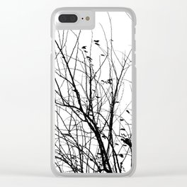 Black white tree branch bird nature pattern Clear iPhone Case