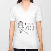kill bill V-neck T-shirts featuring I Hate You / Kill Bill by Etiquette