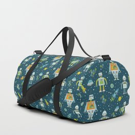 Robots in Space - Blue + Green Duffle Bag