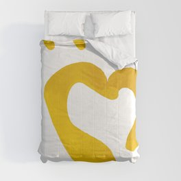 Gold Hearts on White - Love is Golden Comforters