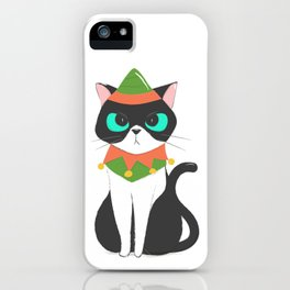 Cat Dressed as a Christmas Elf iPhone Case