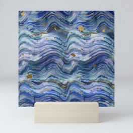 Blue Green Geode Watercolor Mini Art Print