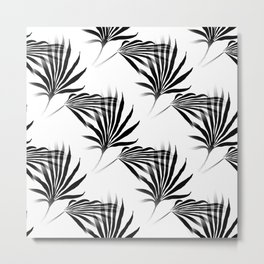 Palmetto Fronds Leaf Pattern Black and White Metal Print