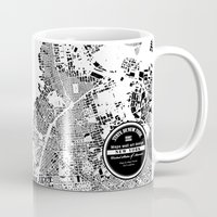 new york map Mugs featuring New York Map by Maps Factory