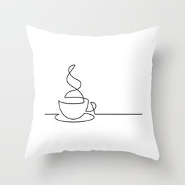 Single Line Coffee Cup Illustration Throw Pillow