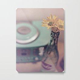 daisies with vintage radio Metal Print