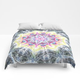 Pink and Yellow Mandala Swirl Comforters