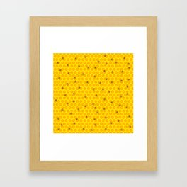 Mind Your Own Beeswax / Bright honeycomb and bee pattern Framed Art Print