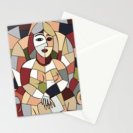 Woman with Kindle #5 Stationery Cards