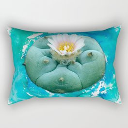 Psychedelic Cactus - Peyote Plant Button Rectangular Pillow