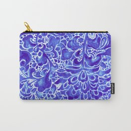 Watercolor Chinoiserie Block Floral Print in Blue Porcelain Tiles Carry-All Pouch