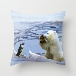 Cute Polar Bear Cub & Penguin Throw Pillow