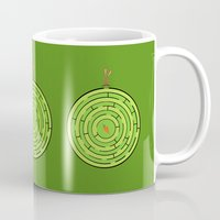 labyrinth Mugs featuring Labyrinth by KATUDESIGN