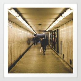 Underground walk Art Print