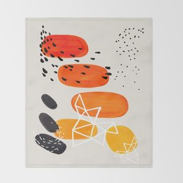Fun Mid Century Modern Abstract Minimalist Yellow To orange Ombre Stacked Pebbles Throw Blanket