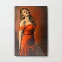 Beautiful Lady in the Red Dress Metal Print