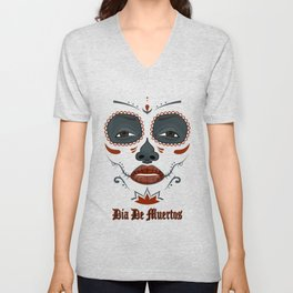 Mexican girl in tattoo style with traditional make-up Unisex V-Neck