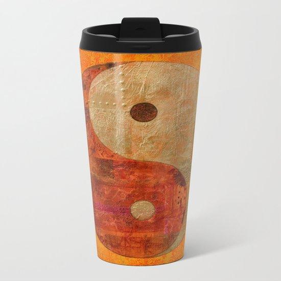 Yin and Yang original collage painting Metal Travel Mug