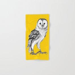 Barn Owl - Drawing In Black Pen On Vintage Yellow Hand & Bath Towel