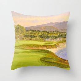 Pebble Beach Golf Course Holes 9 and 10 Throw Pillow