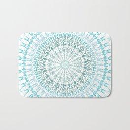 Turquoise White Mandala Bath Mat