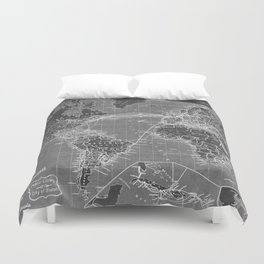 Black and White World Map (1898) Inverse Duvet Cover