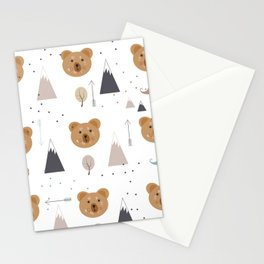 Seamless kids pattern with lovely cute bears and forest Stationery Cards