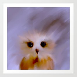 Owl Painting on Windy Day Art Print