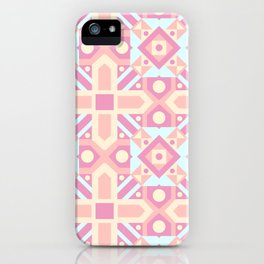 Pink teal yellow ethnic moroccan motif pattern iPhone Case
