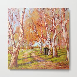 Tardis In The Autumn Tree Forest Metal Print