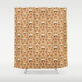 chef with fried chicken thigh tie Shower Curtain
