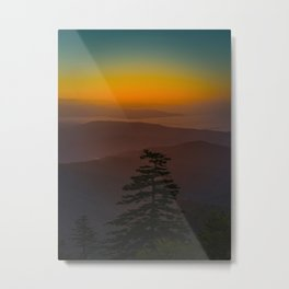 Pretty Pastel Yellow Red Green Sunset With Lone Pine Tree Silhouette Metal Print