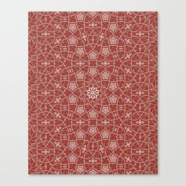 Arabesque Vines Version 1 - Color: Oriental Red/ Silver Canvas Print