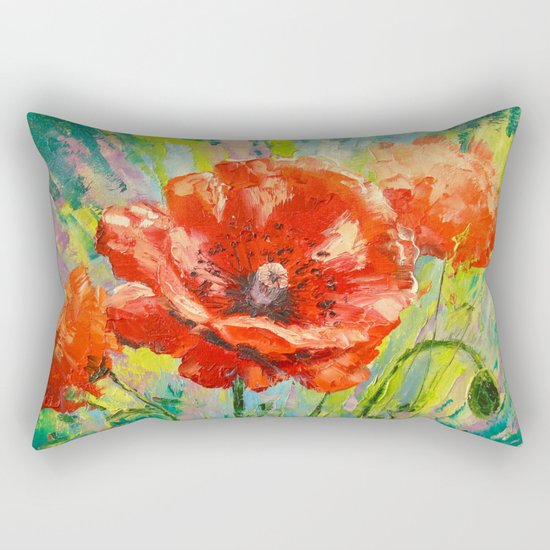 Blooming poppy Rectangular Pillow