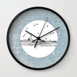 Washington D.C., City Skyline Illustration Drawing Wall Clock