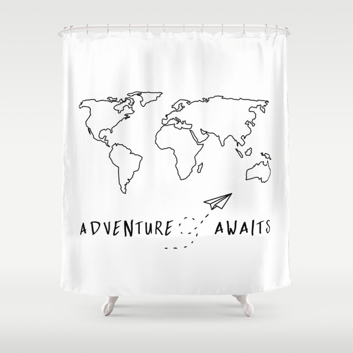 Adventure Map On White Shower Curtain By Cascadia