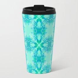 Aqua Poppy Pattern Travel Mug