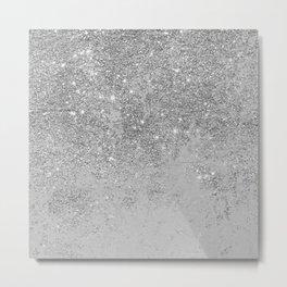 Elegant chic faux silver glitter gray marble Metal Print