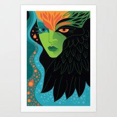 Eagle-eye Warrior Woman Art Print