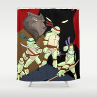tmnt Shower Curtains featuring TMNT by SquidInkDesigns