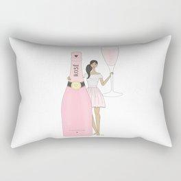 Rose Champagne Fashion Girl Medium Skin Tone Rectangular Pillow