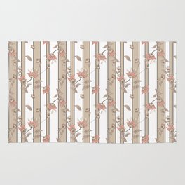Retro . Floral pattern on a beige striped background . Rug