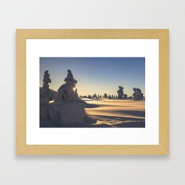 Snow covered Lapland in clear sunny day sunset Framed Art Print