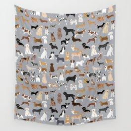Mixed Dog lots of dogs dog lovers rescue dog art print pattern grey poodle shepherd akita corgi Wall Tapestry