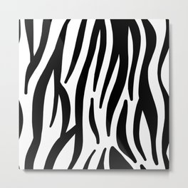 abstract modern safari animal black and white zebra print Metal Print