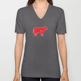 I Love Cows Cute Cattle Bovine Farmer Rancher Red Unisex V-Neck