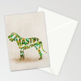 Mastiff Dog Typography Art / Watercolor Painting Stationery Cards