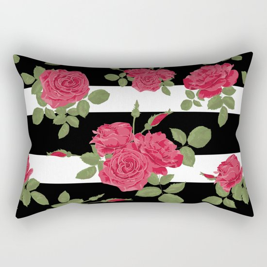 Red roses with horizontal stripes black white Rectangular Pillow