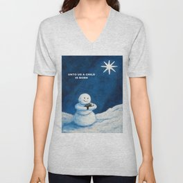 Until Us A Child Is Born  Snowmen Painting By Annie Zeno Unisex V-Neck